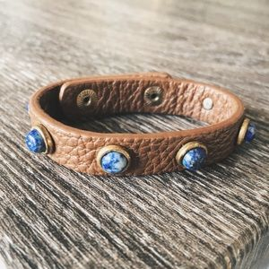 Other - Brown Leather Blue Opal Marble Bracelette